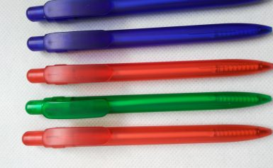 Frosted barrel clip pens
