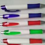 White Barrel Rubber Grip Pens